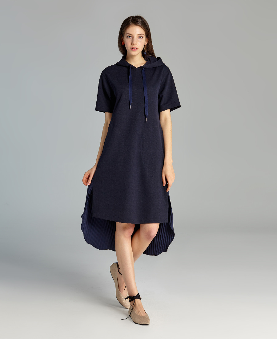Pleated Layered hoodie Dress(Navy)