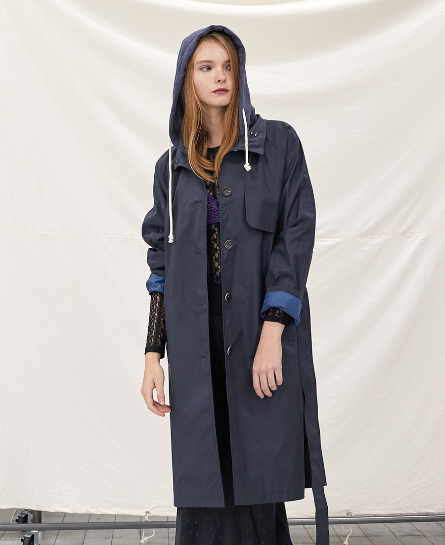 hoodie long Trench (Navy)